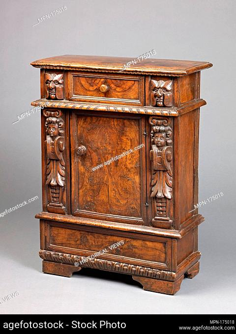 Small cabinet. Date: late 19th or early 20th century (using older parts); Culture: Italian (Northern?); Medium: Walnut, carved; Dimensions: H