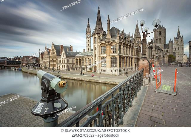 Ghent old town from St Michael's bridge, Belgium