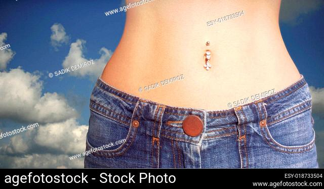 Girl in Jeans and piercing