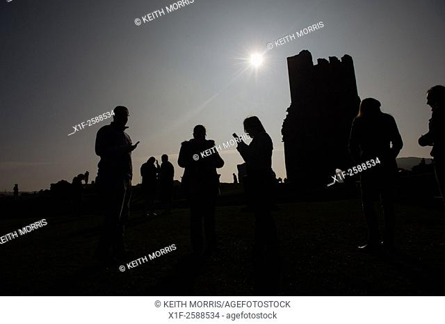 Solar Eclipse 2015. . Aberystwyth Wales UYK, Friday 20 March 2015. . People in Aberystwyth watching the spectacular partial solar eclipse .