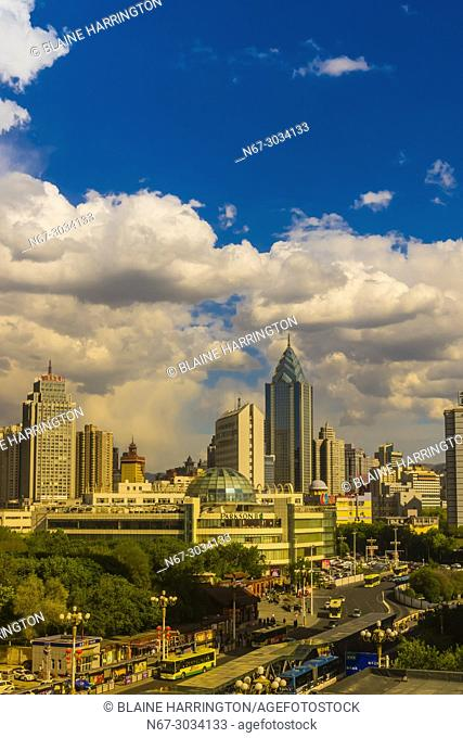 The modern city of Urumqi. Urumqi is the capital of the Xinjiang Uyghur Autonomous Region of the People's Republic of China in Northwest China