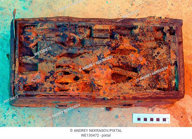 "Toolbox of the shipwreck Russian destroyer """"Leytenant Zatsarenni"""" (aft) - She was sunk on 30 June 1917, Zmiinyi Island, Black Sea, Ukraine, Eastern Europe"