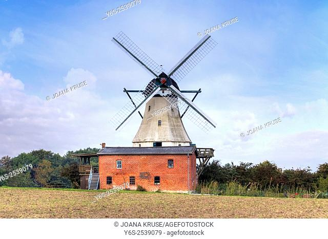 windmill Fortuna, Unewatt, Schleswig-Holstein, Germany