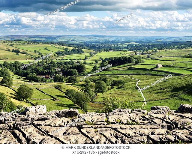 View over Malhamdale from Malham Cove near Malham Yorkshire Dales England