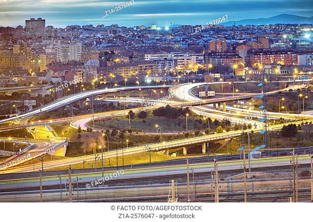 Overpass and Southern Madrid elevated view. Spain