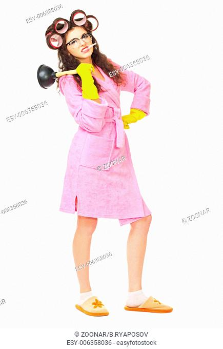 Funny housewife with plunger isolated