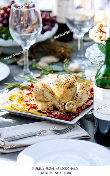 Roast chicken dinner on table