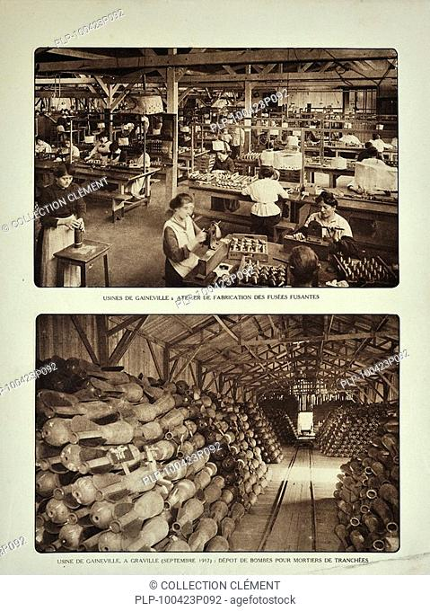 Workers filling shells in the Gaineville ammunition factory at Graville during the First world war