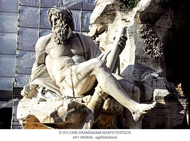 Detail of Fountain of the Rivers by Bernini in Piazza Navona. Rome, Italy