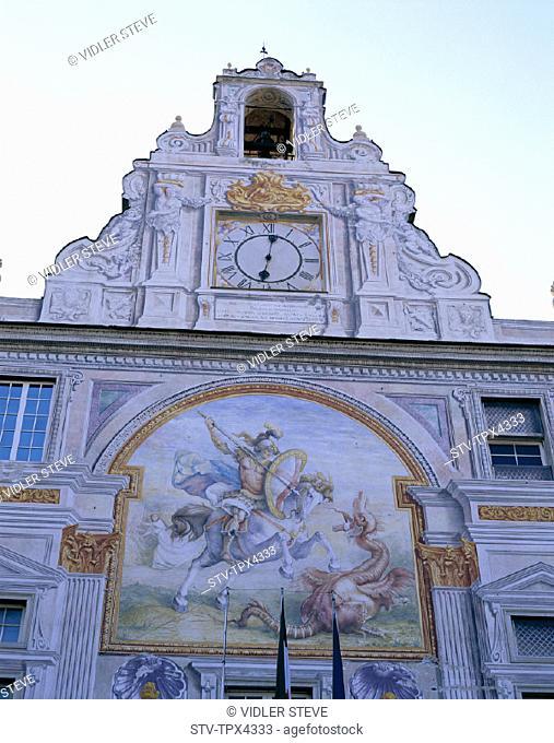 Building, Façade, Frecoes, Genoa, Genova, Holiday, Italy, Europe, Landmark, Liguria, Palazzo san giorgio, Tourism, Travel, Vacat