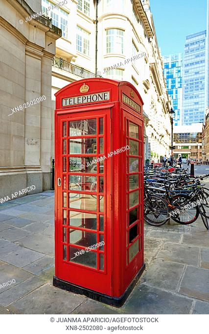 A traditional red phone box in London, London, United Kingdom, Europe