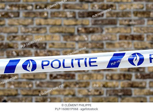 Belgian police / politie tape at crime scene, Belgium