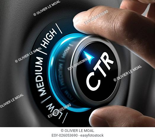 hand turning a ctr knob on the highest position. Concept image to illustrate a high click through rate during an advertising campaign