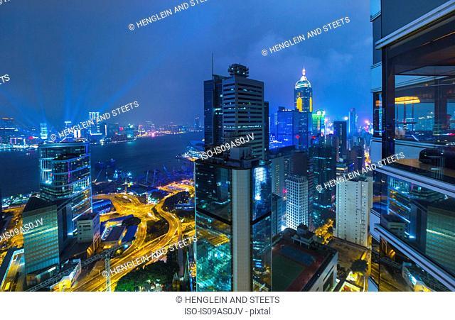 Central Hong Kong financial district and Victoria harbor, Hong Kong, China