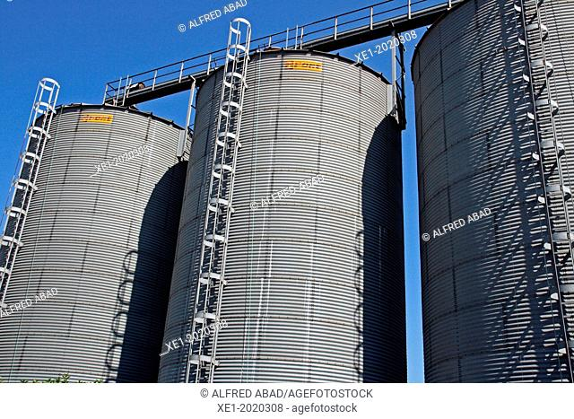 agricultural silos, industrial facility, Valles Oriental, Catalonia, Spain