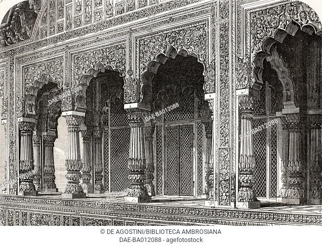 Ancient Hindu temple at Bindraban, India, illustration from the magazine The Illustrated London News, volume LV, October 23, 1869