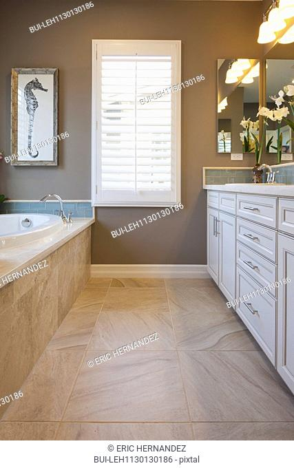 Interior in domestic bathroom