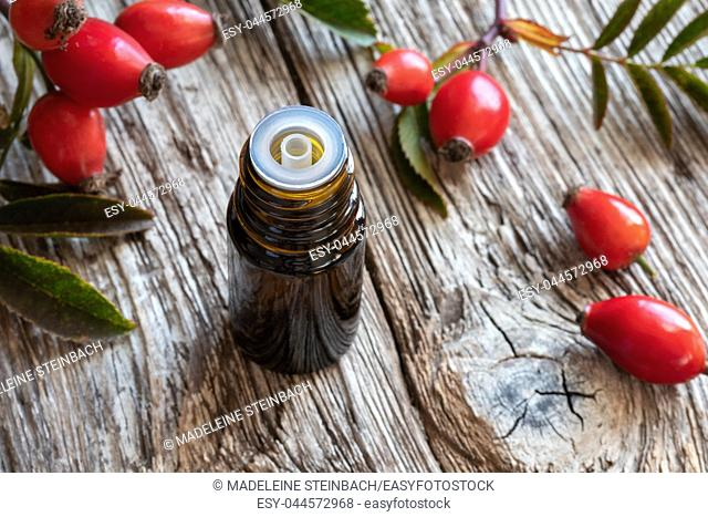 A bottle of rose hip seed oil with fresh berries and leaves