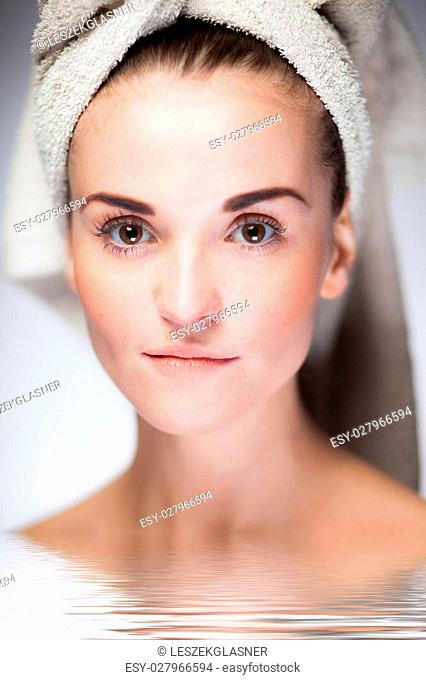 Skin care and healthy face, spa woman during bath