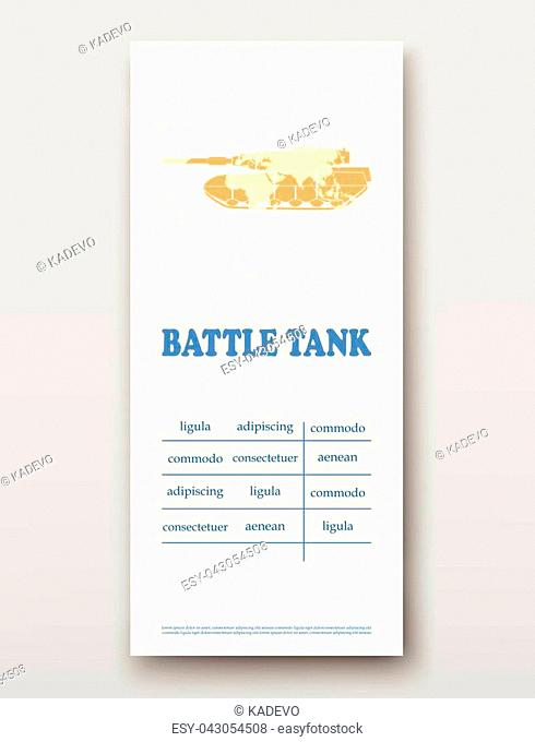 Battle tank technology annual report brochure flyer design template vector, Leaflet cover presentation abstract background layout
