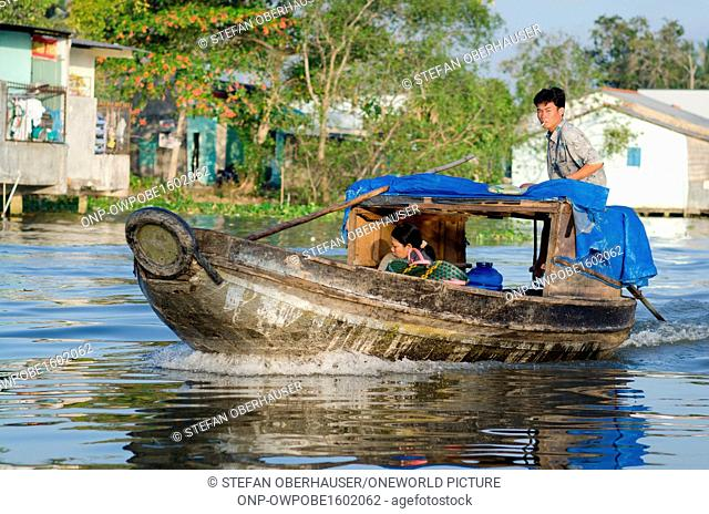 Vietnam, Can Tho, Traditional wooden ship on the river Mekong