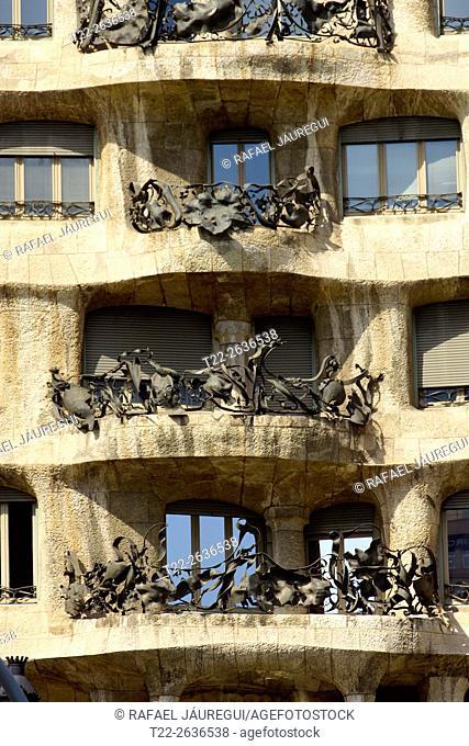 Barcelona (Spain). Architectural detail of the facade of the Casa Mila (La Pedrera) in Barcelona