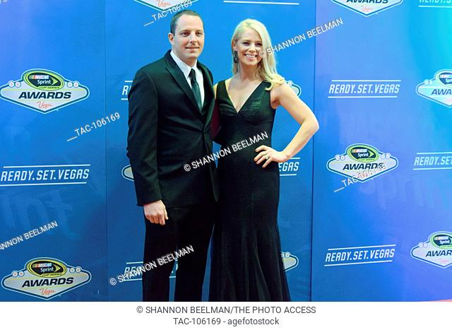 Johnny and Courtney Sauter walk the red carpet at the NASCAR Awards on Decmember 2nd 2016 at the Wynn in Las Vegas, NV