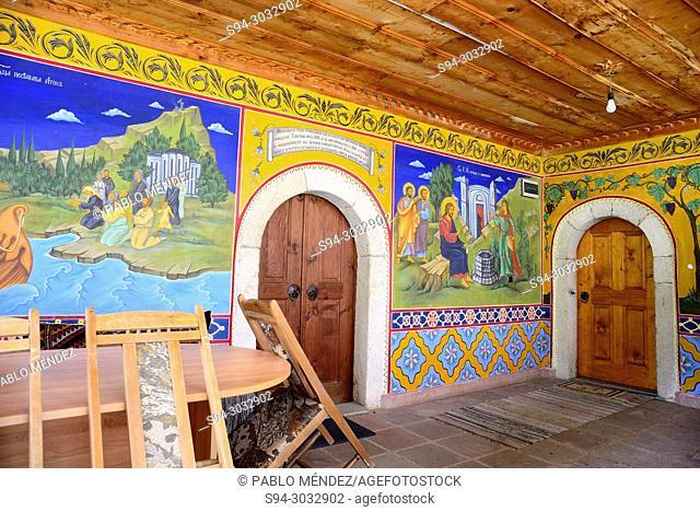 Hall and doors in Transfiguration monastery (Preobrazenski) near of Veliko Tarnovo, Bulgaria