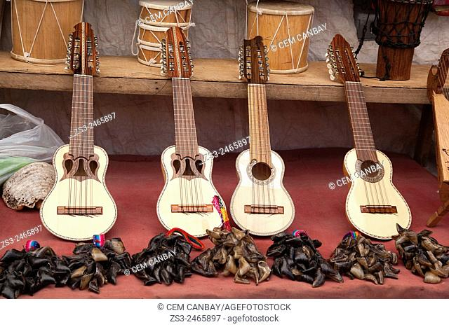 Andean instruments charangos, for sale at the market, Pisaq, Sacred Valley, Cuzco region, Peru, South America