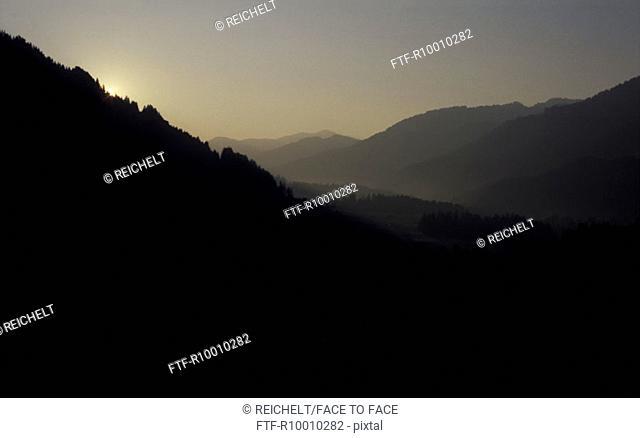 Sunrise over a valley, Austria, Bregenzer forest