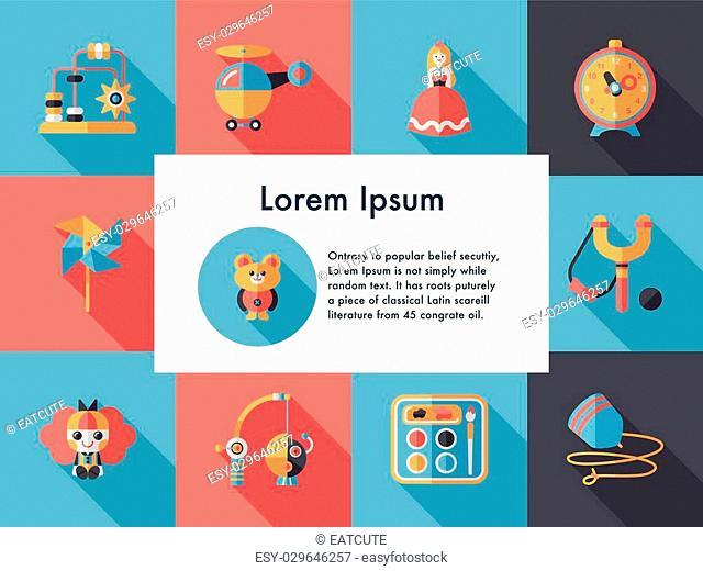 Children's toy icons set