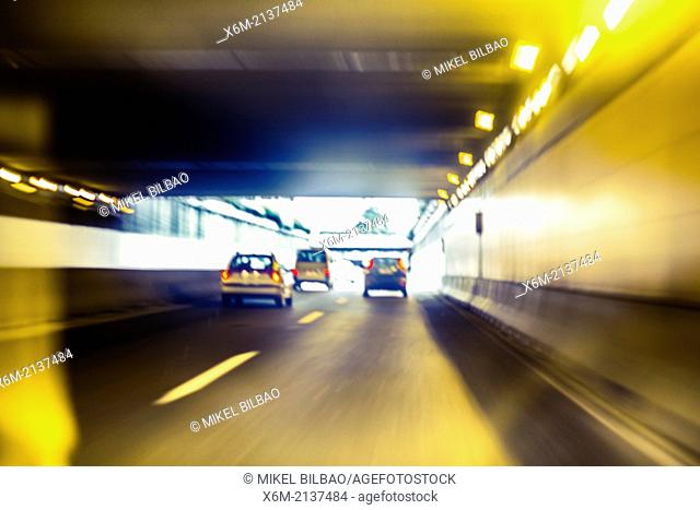 Cars, tunnel and traffic