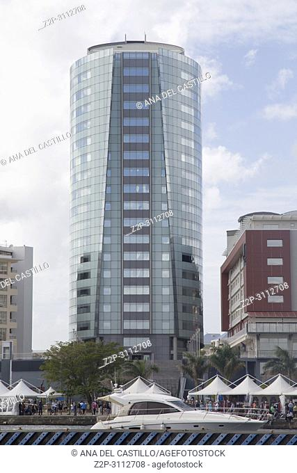 New Pointe Simon Business and tourism center with Parking, 20 story office building, and luxury hotel. Fort-de-France on December 4