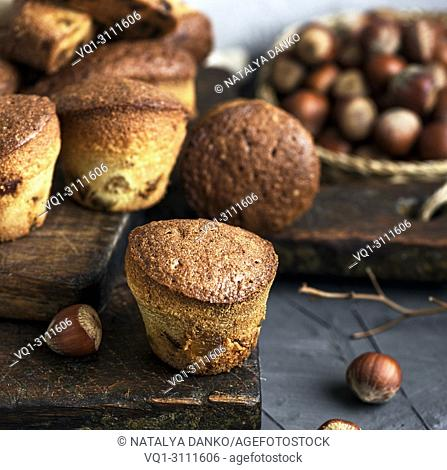 round small cupcakes with dried fruits on a brown wooden board, close up