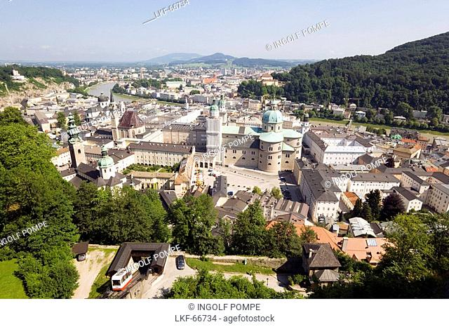 View from mountain Festungsberg over Salzburg with cathedral, dedicated to Saint Rupert and Saint Vergilius, Salzburg, Salzburg, Austria