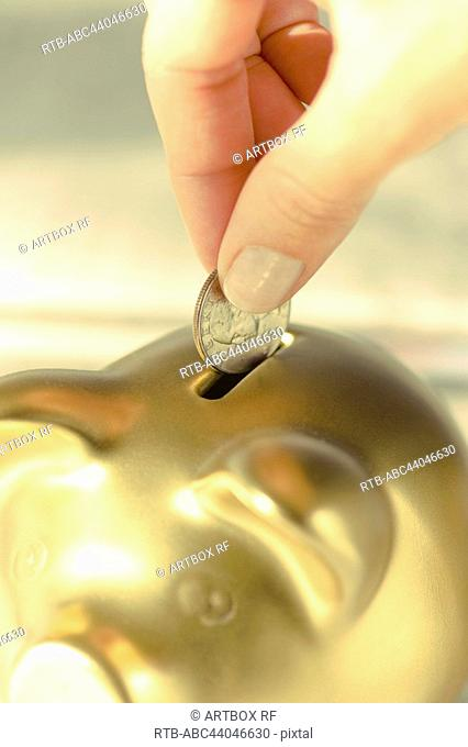 Person's hand putting coin into a piggy bank