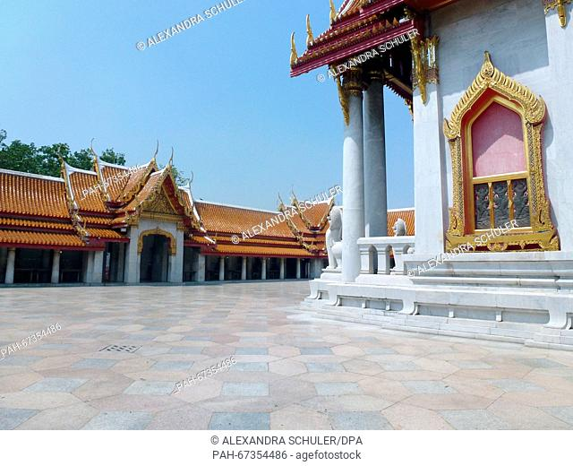 The inner courtyard of Wat Benchamabophit inBangkok,Thailand, 04 March 2016. The temple located in the Dusit district of Bangkok is also known as the 'marble...