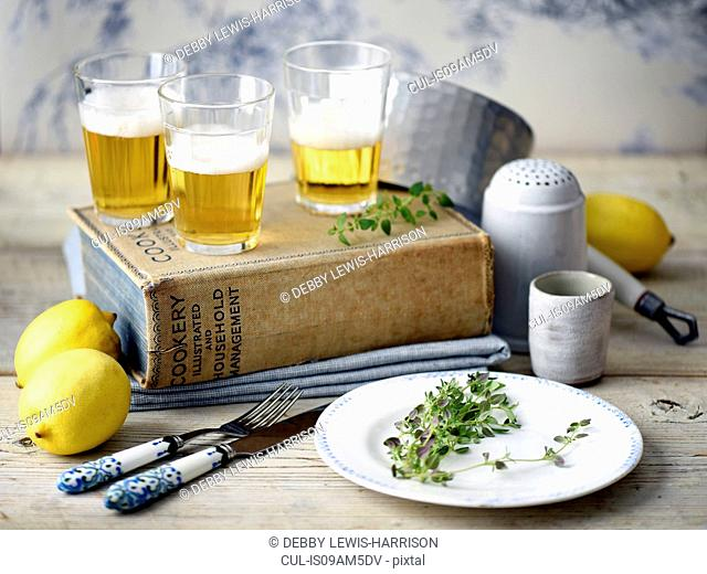 Beer, lemon, thyme, cook book