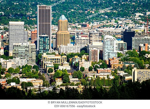 Downtown Portland Oregon cityscape in the afternoon. View from above