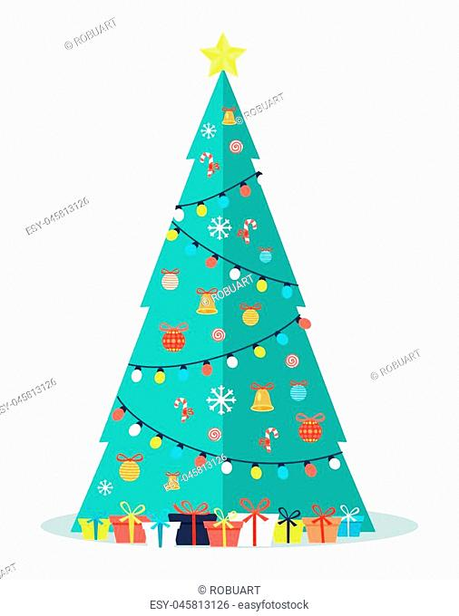 Decorated Christmas tree with garlands, bells and bows on ribbons, golden star on top and many packed presents in gift boxes vector illustration on white