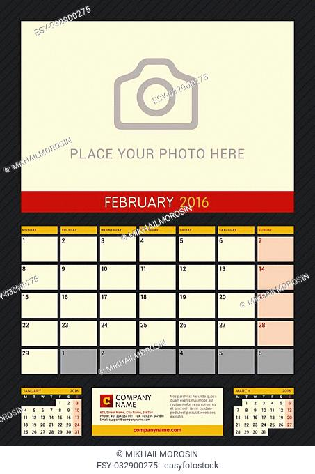 Wall Calendar Planner for 2016 Year. Vector Design Print Template with Place for Photo on Dark Background. Week Starts Monday. Portrait Orientation