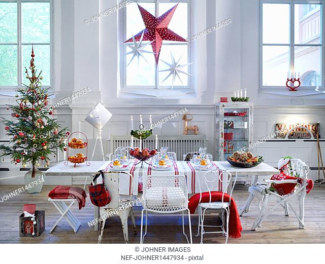 Christmas living room with decorations