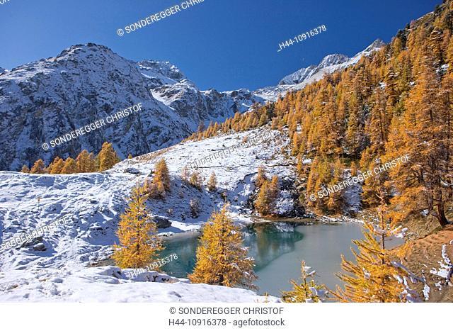 Mountain, mountains, autumn, Valais, Wallis, Switzerland, Europe, snow, mountain lake, larches, lake, Lac bleu, blue lake, Val d'Arolla