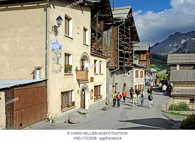 Tourists in the La Ville District of Saint-Véran in the Queyras Hautes-Alpes France