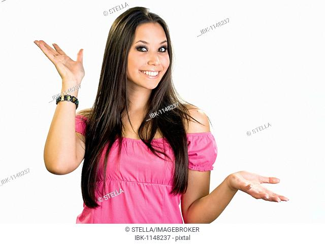 Young woman, 20, making a gesture