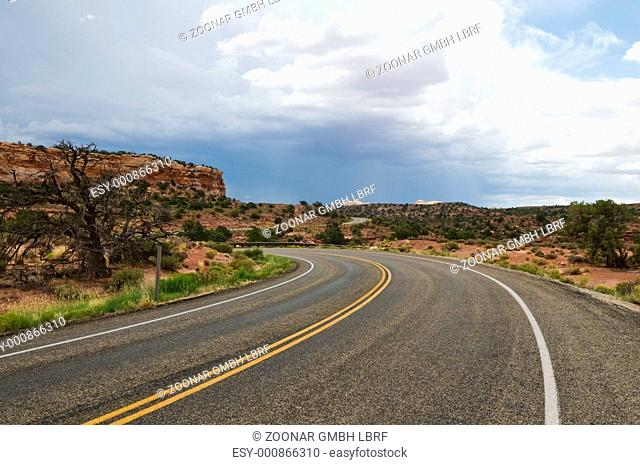Curving road through the desert