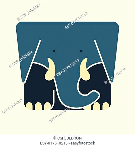 Flat square icon of a cute elephant