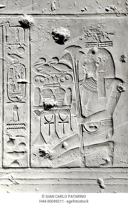 Abydos,Egypt, the mortuary temple of pharaoh Seti I, Menmaatra, (XIX° dyn. 1321-1186 B.C.) - a god of the Nile