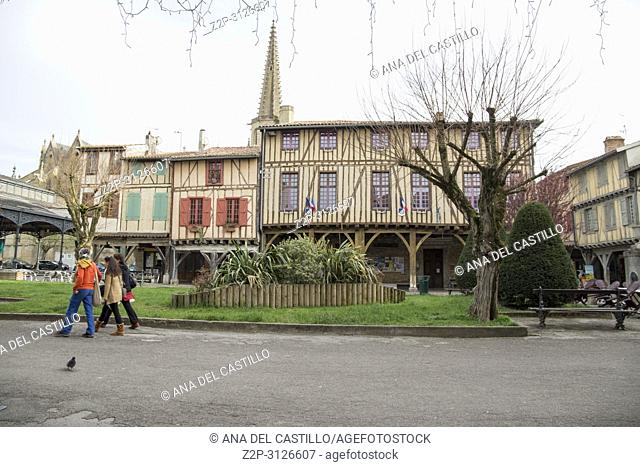 Mirepoix, France - April 8, 2018: Medieval bastide of Mirepoix in Ariège,Midi-Pyrénées region of France. Half-timbered houses dating from the Middle Ages...