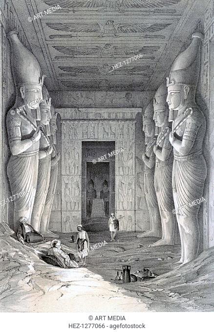 'Interior of the Great Temple, Aboo-Simbel', 19th century. View inside the temple of Abu Simbel built by Rameses II showing some of the colossal statues